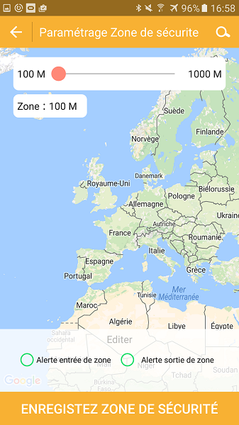 Test application Kiwip Watch Zone de Sécurité Map Europe