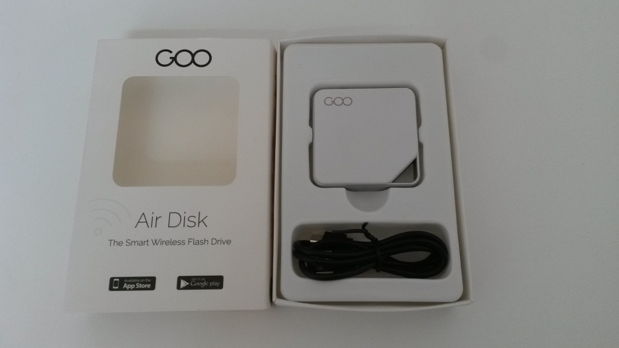Test Goo Air Disk Unboxing boîte ouverte