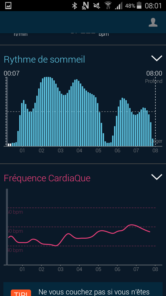 Test beddit 3 sleep tracker application graphique