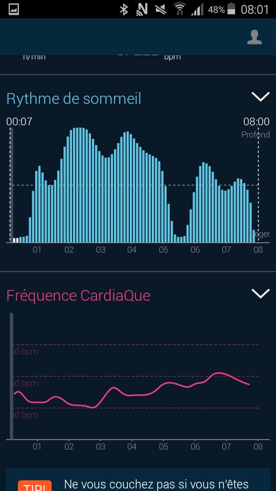 Test beddit 3 sleep tracker application graphique