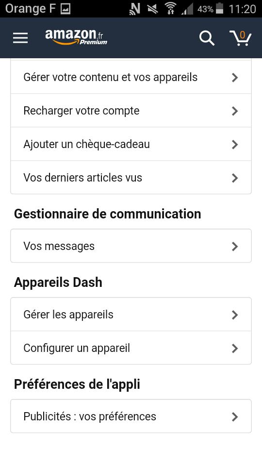 dash button amazon application gérer appareils