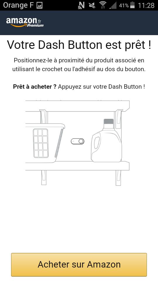 dash button amazon application appareillage