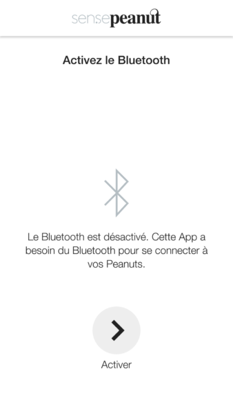 Test Application Thermopeanut connectivité Bluetooth