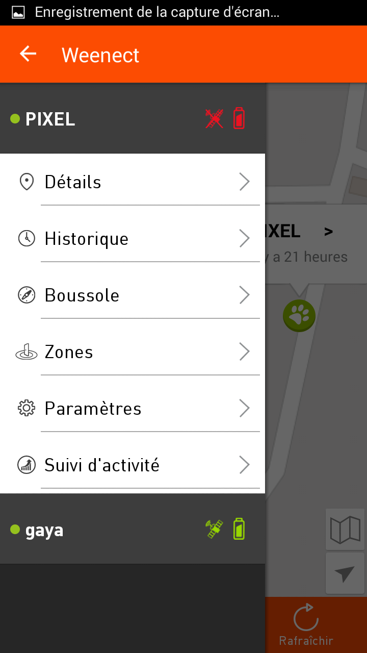 test weenect pets application GPS historique