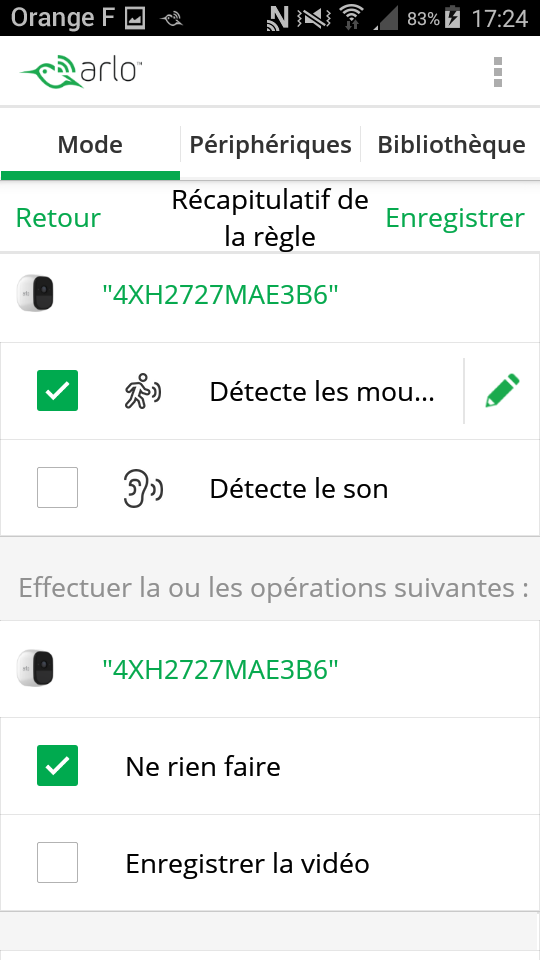 test arlo pro camera connectee application mode detection des mouvements