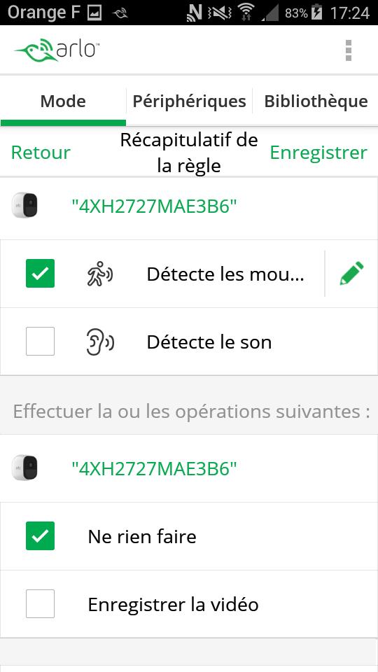 test arlo pro camera connectee application mode detection des mouvements