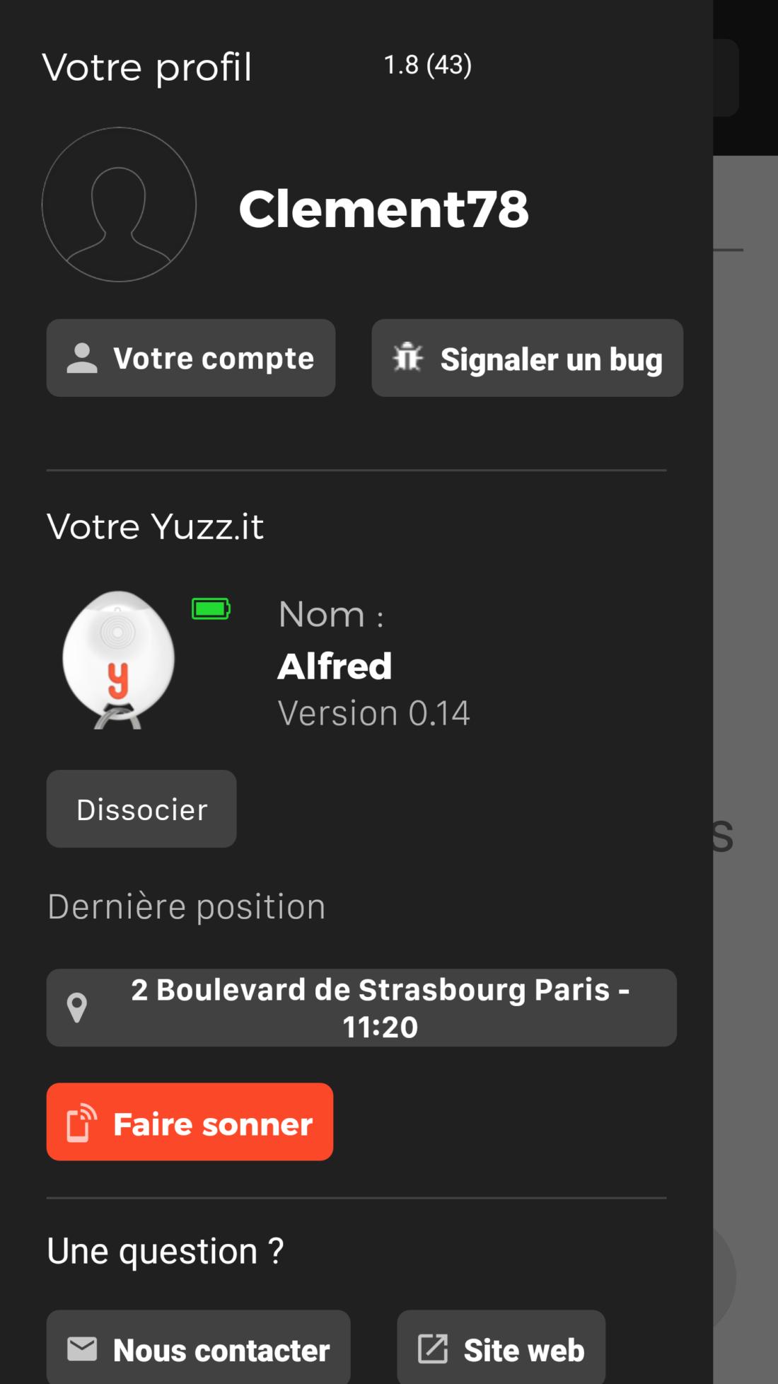 Test Yuzz-It application compte