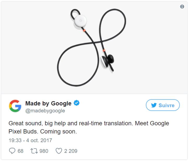 Tweet Google Pixel Buds ecouteurs connectes musique traduction instantanee autonomie stokage design prix