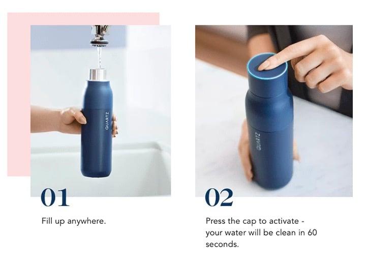 kickstarter, bouteille connectée, uv, purifier l'eau