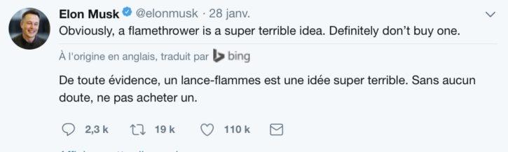 tweet elon musk lance flamme