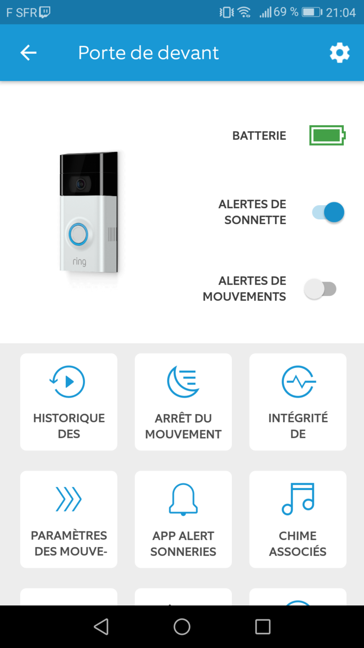 Application de la sonnette connectée ring