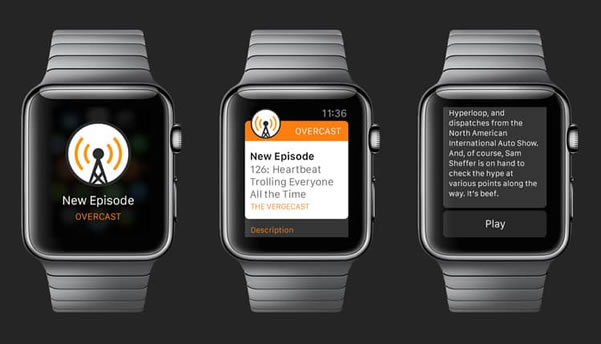 Overcast meilleures applications Apple Watch