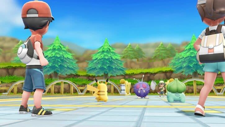 Pokémon Let's Go Pikachu et Evoli combat dresseur