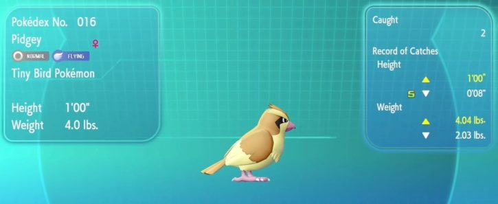 Pokémon Let's Go Pidgey
