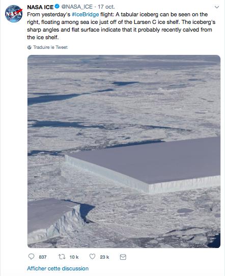 iceberg carré toruvé par la NASA