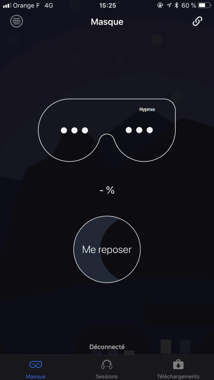 menu accueil de l'application du masque hypnos