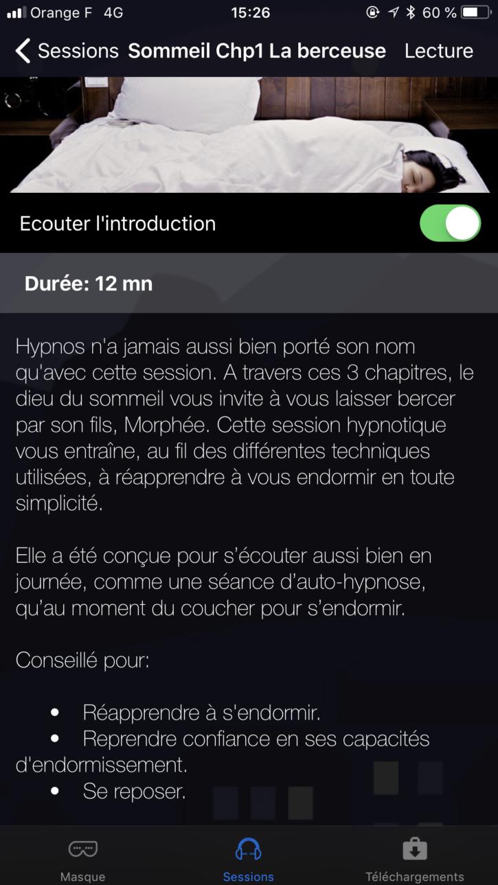 session de sommeil sur l'application Hypnos