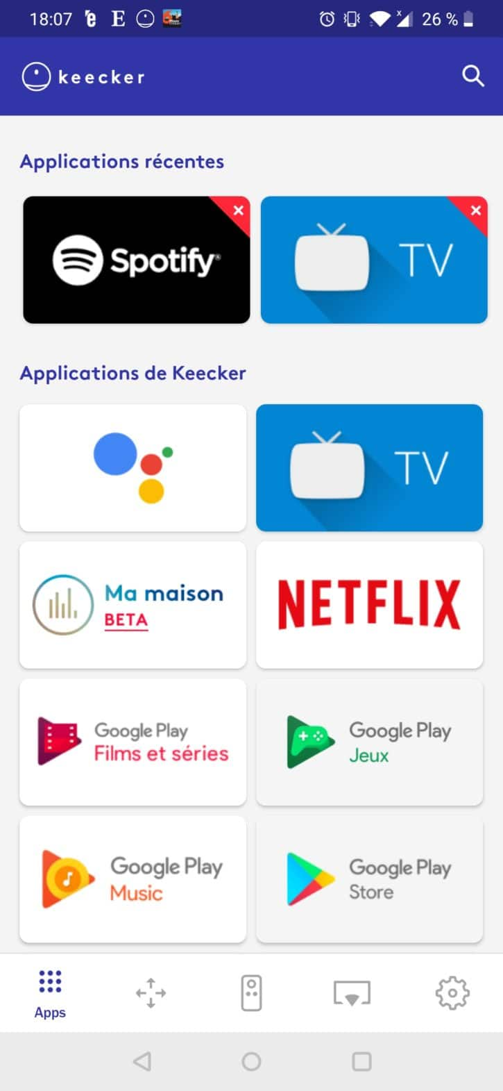 application keecker premier onglet