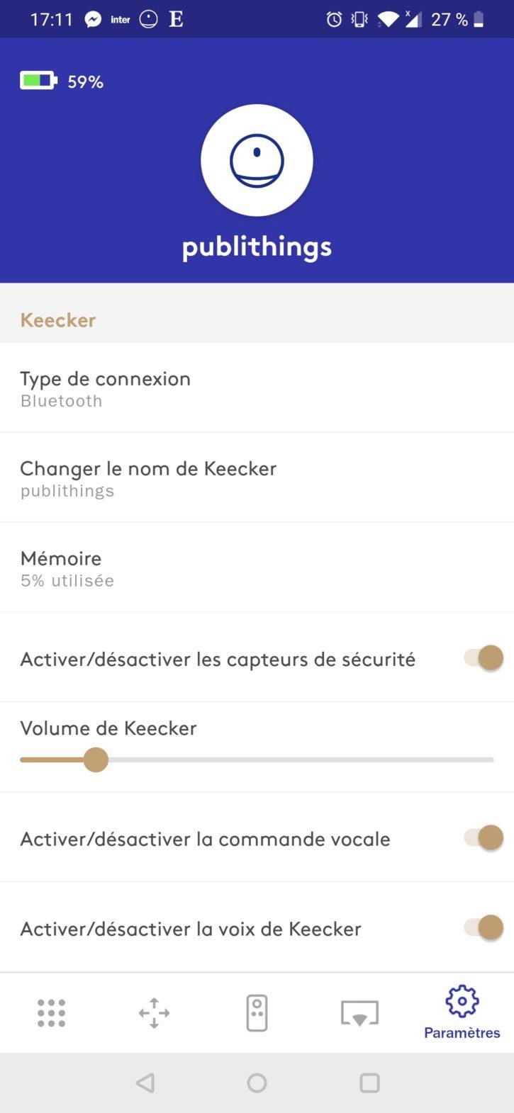 paramètres de l'application keecker