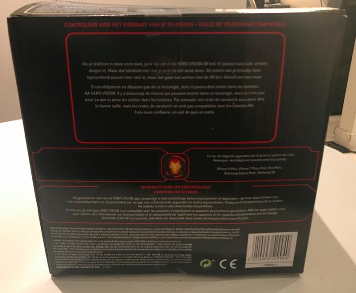 arrière de la boîte d'emballage du casque Hero Vision