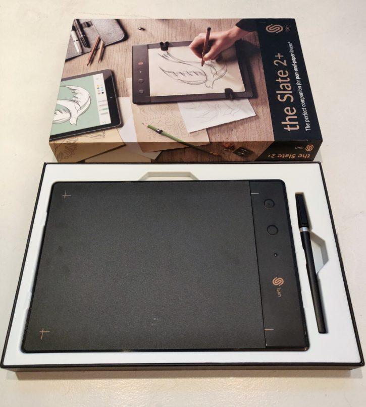 unboxing de la Slate 2+ tablette bien rangée
