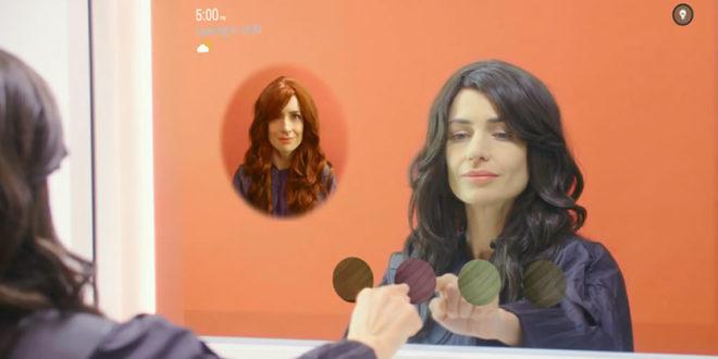 Miroir connecté tester couleur ou coupe cheveux salon coiffure coiffeur