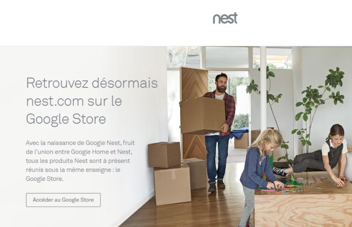 Nest.com plie bagage dans cette capture d'écran du site