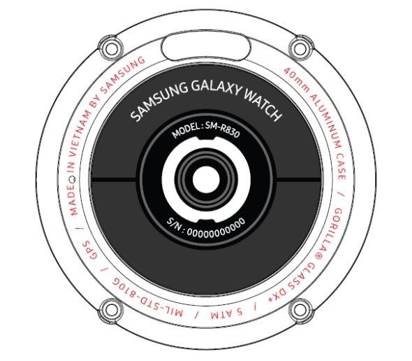 face arrière de la galaxy watch active 2