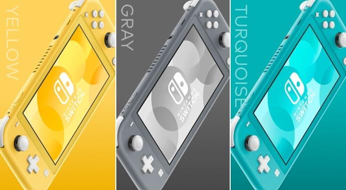 Coloris de la console portable nintendo switch lite