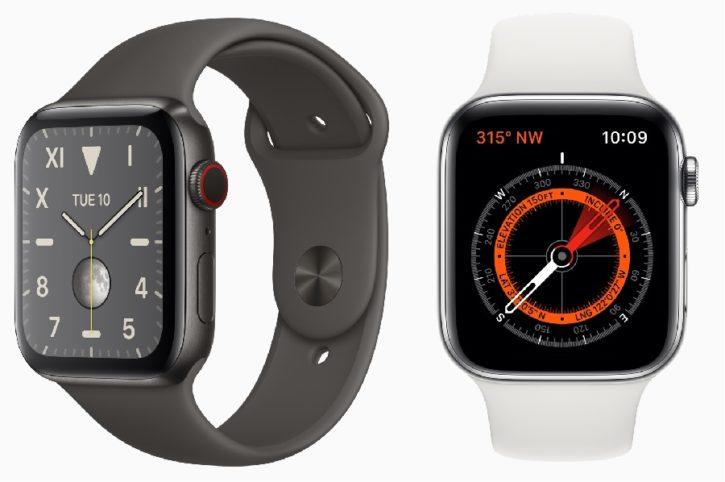 apple watch series 5 titane noir sidéral et boussole