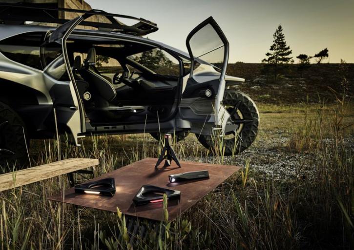 audi ai trail, concept car buggy électrique, drones servant de phares avant