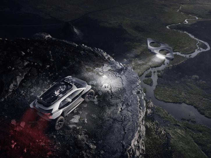 audi ai trail, concept car buggy électrique, drones servant de phares avant en action