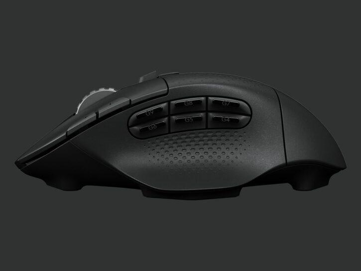 souris gaming Logitech G604 Lightspeed de profil