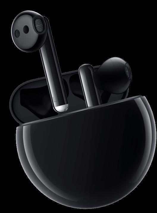 écouteurs sans fil huawei freebuds 3 version noir avec boitier de recharge arrondi