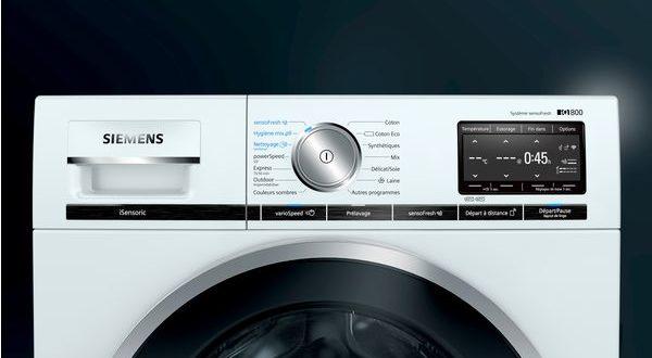 Siemens lave-linge et sèche-linge connectés iQ800, rapproché
