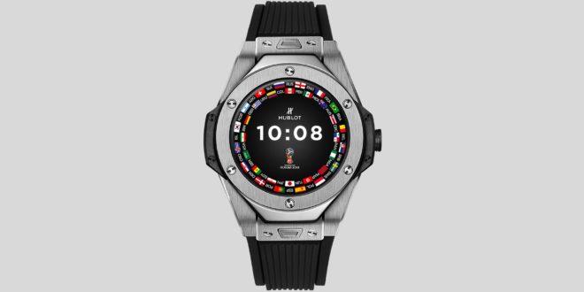 montre connectée Hublot pour mondiale, grande soeur de la montre connectée pour l'euro 2020, vue de face