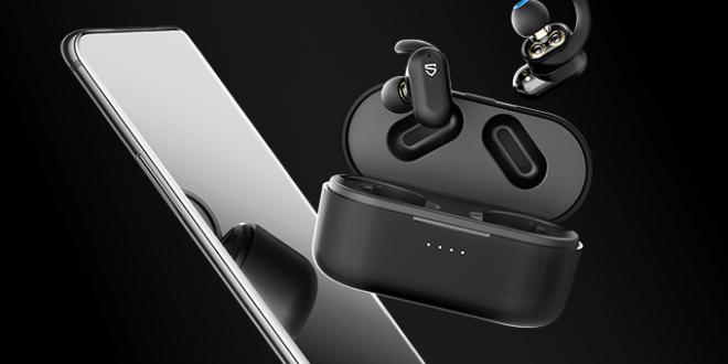 écouteurs sans fil soundpeats Truengine2 avec smartphone