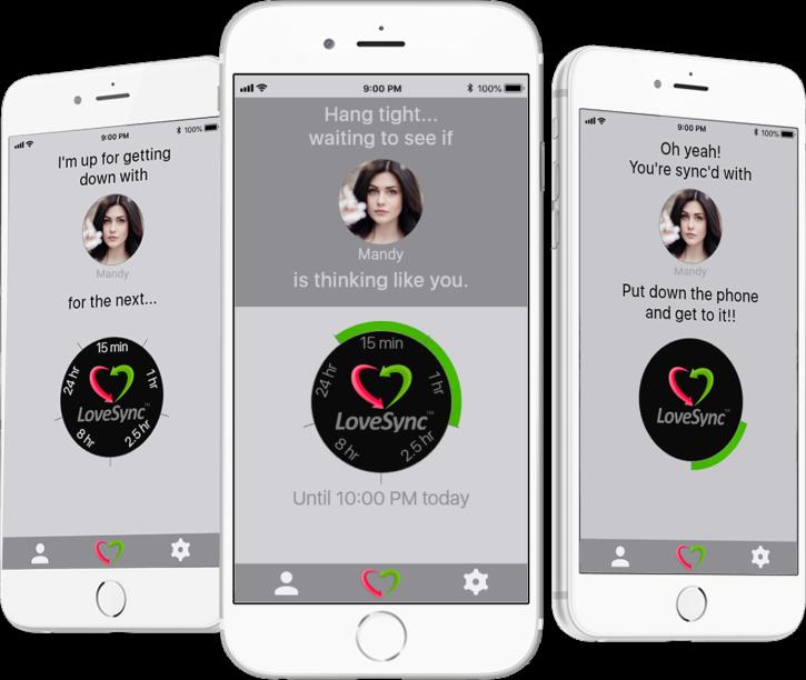 le bouton connecté LoveSync en version application mobile