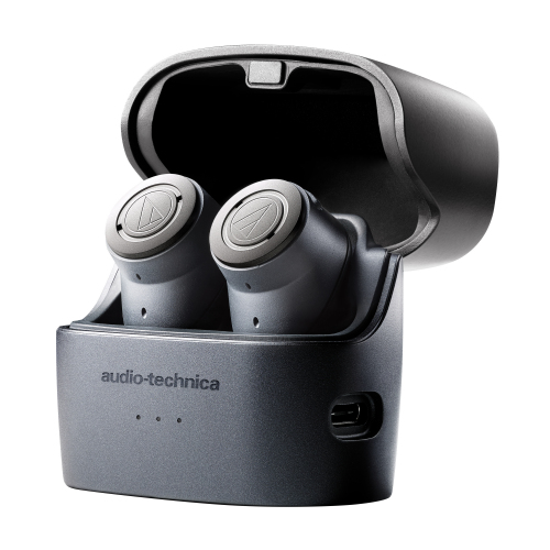 écouteurs sans fil audio-technica QuietPoint ATH-ANC300TW dans leur boitier de recharge