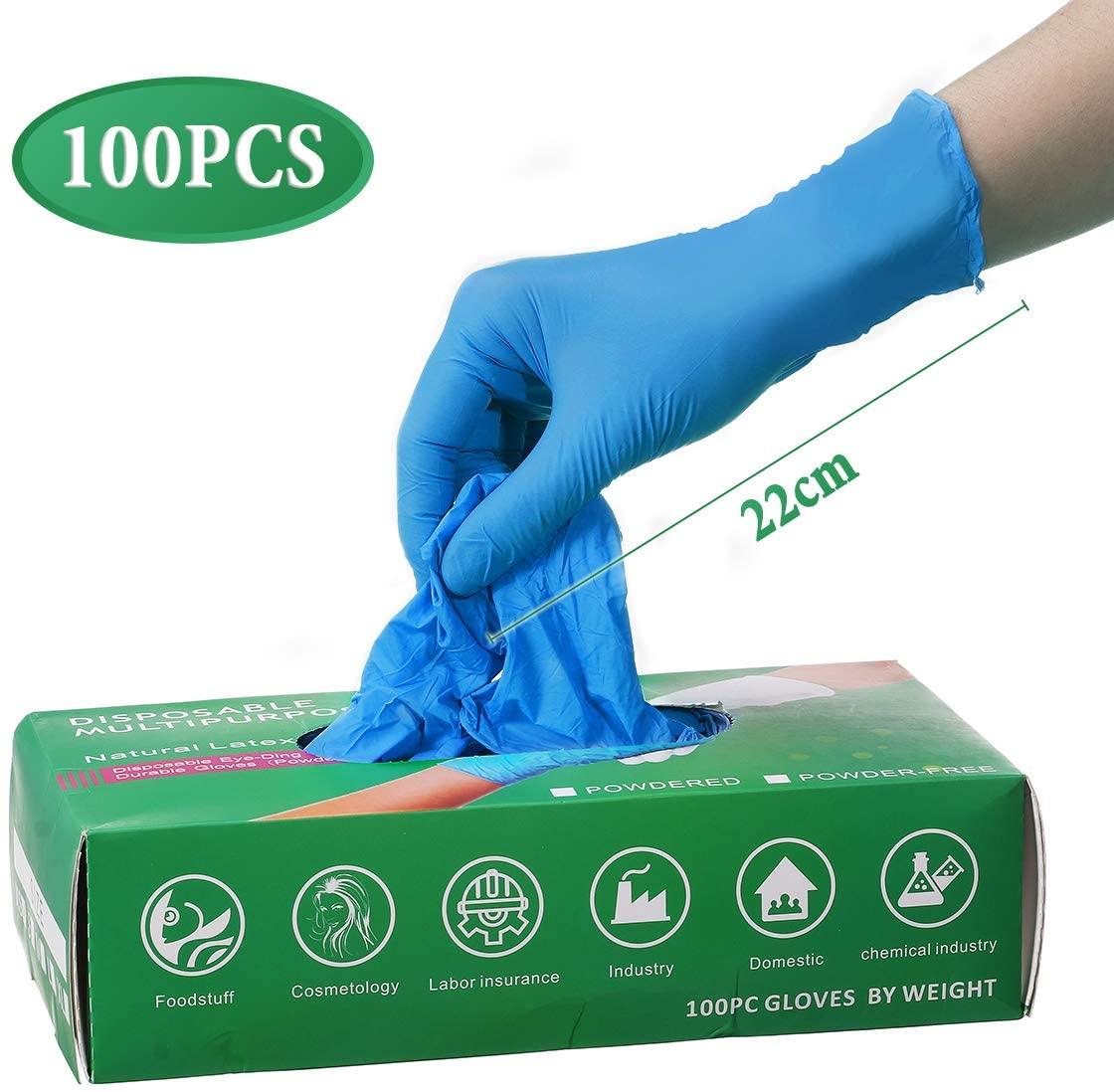 gants en latex bleus
