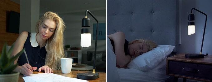 lampe connectée Megi Floating Lamp sur bureau