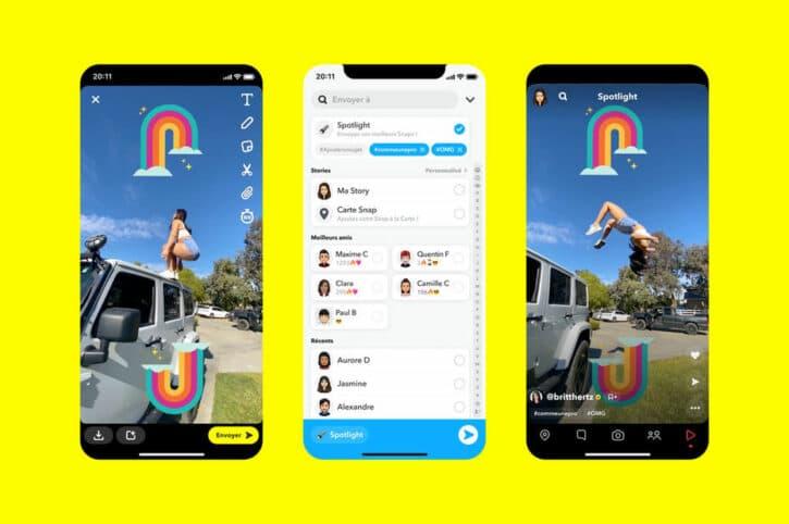 les fonctionnalités sur Snapchat